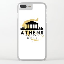 ATHENS GREECE SILHOUETTE SKYLINE MAP ART Clear iPhone Case