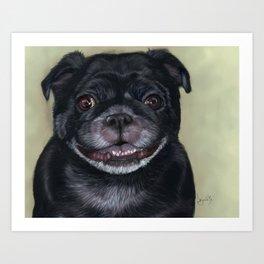 Black Pug Painting Portrait Art Print
