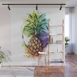 Watercolor Pineapple Wall Mural