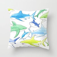 sharks Throw Pillows featuring sharks by Kathryn Rickards