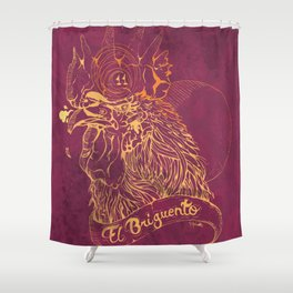 El Briguento - The Fighter (Golden) Shower Curtain