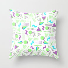 Retro lime green purple geometrical 80's pattern Throw Pillow