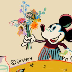 illustration of Mickey Mouse holding a bouquet of flowers