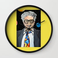 will ferrell Wall Clocks featuring Will Ferrell as Harry Caray SNL by Portraits on the Periphery