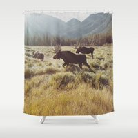 sunrise Shower Curtains featuring Three Meadow Moose by Kevin Russ