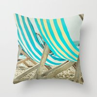 depeche mode Throw Pillows featuring Vacation Mode by The Last Sparrow