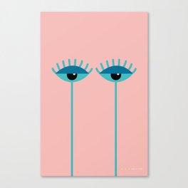 Unamused Eyes | Turquoise on Rosequartz Canvas Print