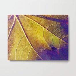 Leaf in Purple and Yellow Metal Print
