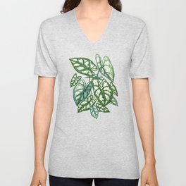 Green Tropical Leaves IV Unisex V-Neck
