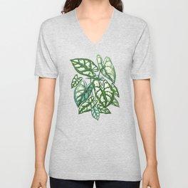Green tropical leaves IV Unisex V-Neck