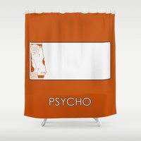 psycho Shower Curtains featuring Psycho by MacGuffin Designs