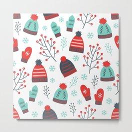 Colorful Christmas Symbols Seamless Pattern Metal Print