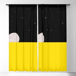 Black night with stars, moon, and yellow sea Blackout Curtain