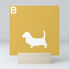 Basset Hound | Dogs series | Mustard Yellow Mini Art Print