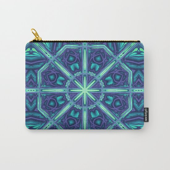Kaleidoscope abstract in blue, purple and green Carry-All Pouch