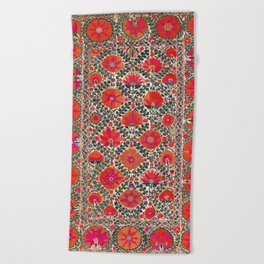 Kermina Suzani Uzbekistan Colorful Embroidery Print Beach Towel