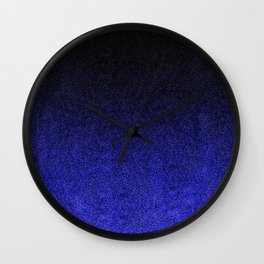Blue & Black Glitter Gradient Wall Clock