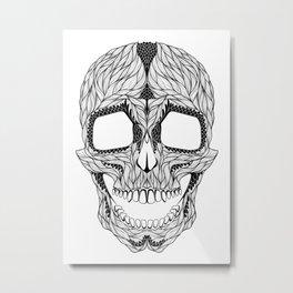 HUMAN SKULL. psychedelic / zentangle style Metal Print