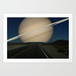 If Saturn replaced the Earth's Moon Art Print
