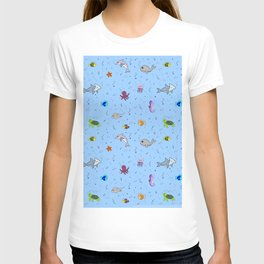 Sea creature pattern T-shirt