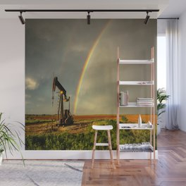 Black Gold - Rainbow Ends at Pump Jack in Texas Oilfield Wall Mural