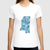 blueprint T-shirts featuring Mississippi Counties Blueprint watercolor map by Anne E. McGraw