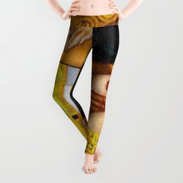 The Kiss, romantic male and female form with red poppies portrait painting by Gustav Klimt Leggings