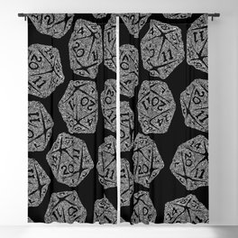 d20 - white on black - icosahedron doodle pattern Blackout Curtain