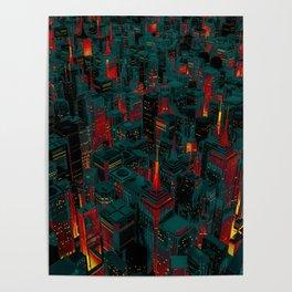 Night city glow cartoon Poster