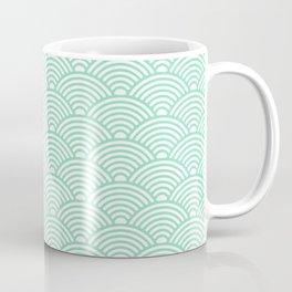 Japanese Waves (Mint & White Pattern) Coffee Mug