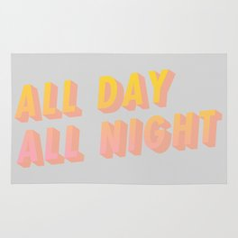 All Day All Night - Typography Rug