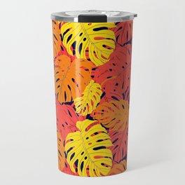 Modern tropical summer yellow orange red cheese leaves floral Travel Mug
