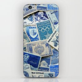 Vintage Postage Stamp Collection - 02 (Blues) iPhone Skin
