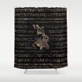 Egyptian Horus -vintage gold on black Shower Curtain
