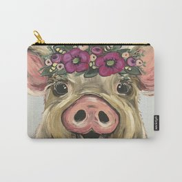 Pig Painting, Flower Crown Pig, Cute Farm Animal Art Carry-All Pouch