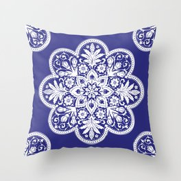Floral Doily Pattern | Lace Crochet Doilies | Needle Crafts | Blue and White | Throw Pillow