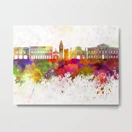 Bergamo skyline in watercolor background Metal Print