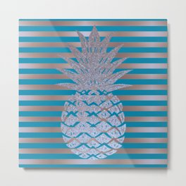 GLITTER PINEAPPLE ON GOLD BLUE STRIPES Metal Print