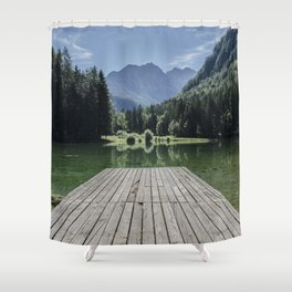 Green Lake nature Shower Curtain