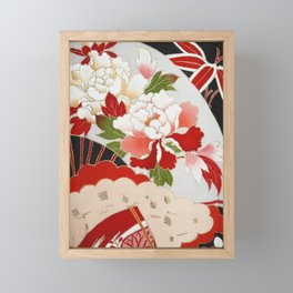 Japanese Floral Wedding Kimono Pattern Framed Mini Art Print