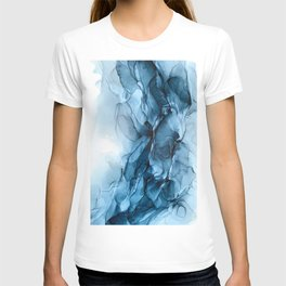 Deep Blue Flowing Water Abstract Painting T-shirt