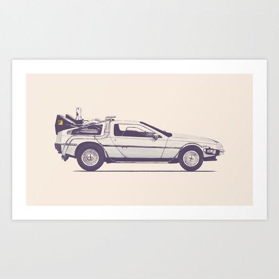 Famous Car #2 - Delorean Art Print