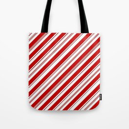 winter holiday xmas red white striped peppermint candy cane Tote Bag