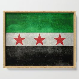 Independence flag of Syria, in grungy vintage style Serving Tray