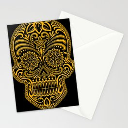 Intricate Yellow and Black Day of the Dead Sugar Skull Stationery Cards