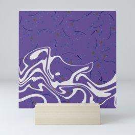 Violet Marbled Waves Swirled Effect Design Mini Art Print