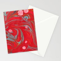 Red Marbled Stationery Cards