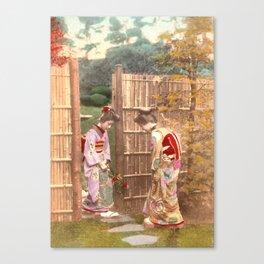 Japanese women walking on stepping stones Canvas Print