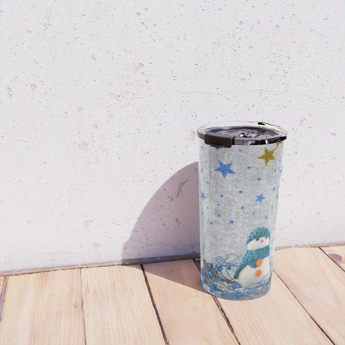 Snowman with sparkly blue stars Travel Mug