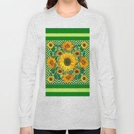 Green Color & Yellow Sunflowers Garden Pattern Art Long Sleeve T-shirt